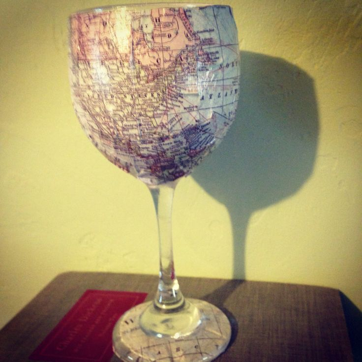 map wine glass using mod podge cute cool crafts
