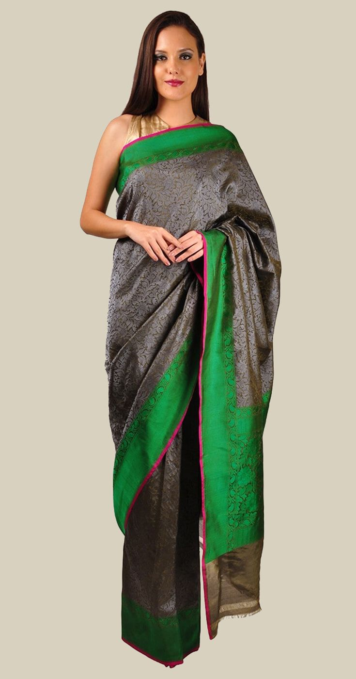 Charcoal Grey And Emerald Green Tanchoi Banarasi Pure Silk Saree