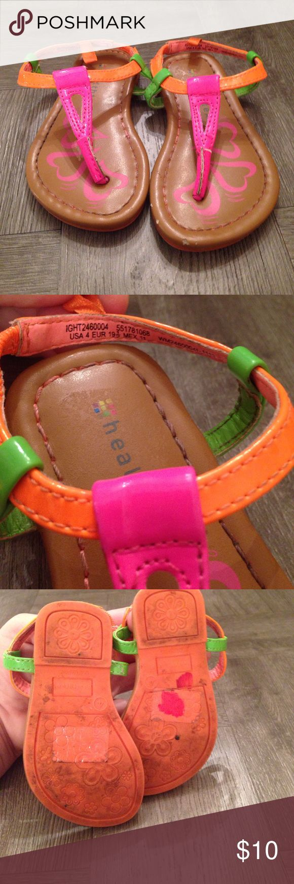 Girl's Neon Sandals (toddler size 4) Super cute good condition neon sandals by healthtex size 4. Some scuffs here and there, but still super cute shoes. healthtex Shoes Sandals & Flip Flops