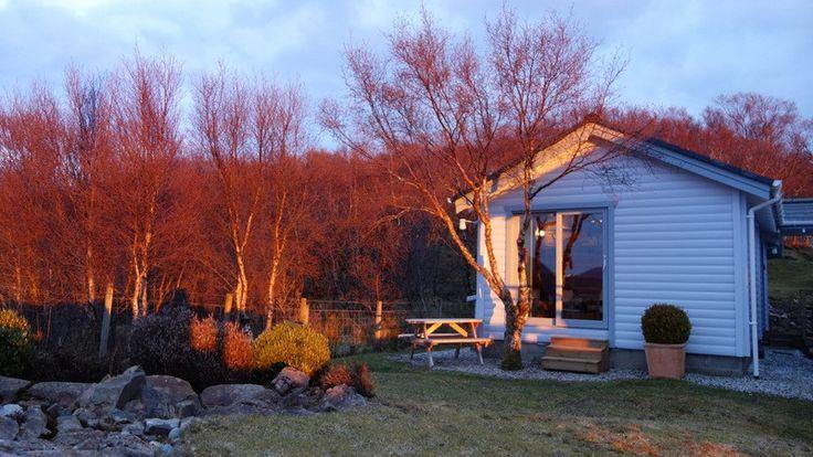 Tokavaig cottage rental - Alavik Cottage - picnic table, patio doors to lounge, garden, sea/mountain views