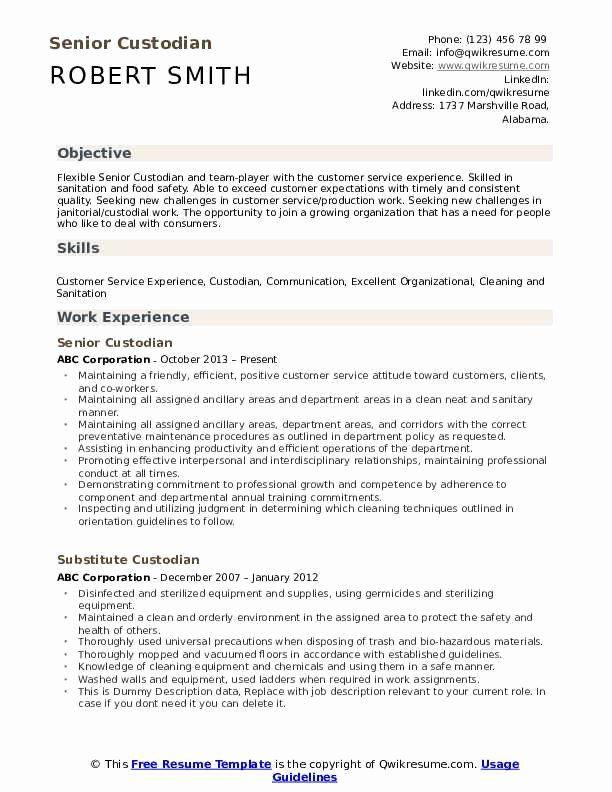 Janitor Job Description Resume Luxury Custodian Resume Samples Sdlc