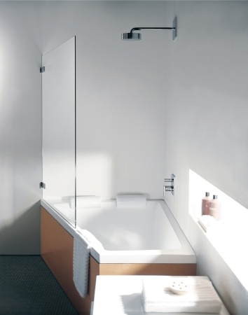 kind of cool shape and glass door    Duravit - Bathroom design series: Paiova - bath tubs and bath room furniture from Duravit.