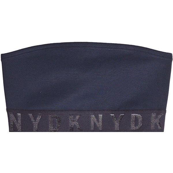 DKNY Stretch Bandeau Top (1.365 NOK) ❤ liked on Polyvore featuring blue, bandeau bikini tops, bandeau top and dkny