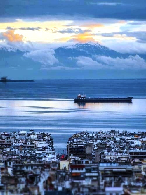 Amazing Mt Olympus view, Thessaloniki city, Greece