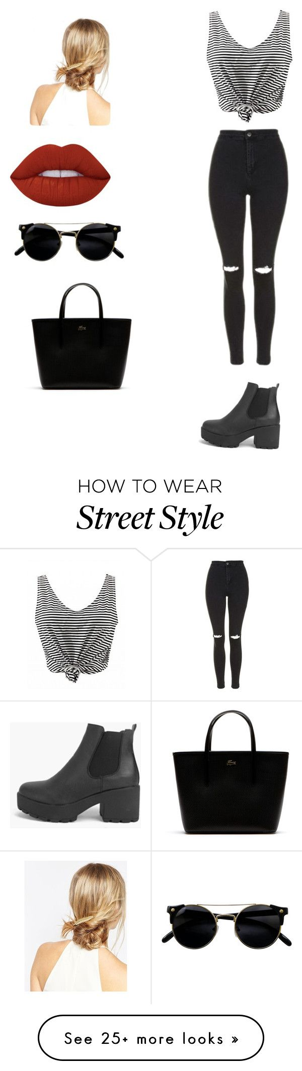 """""""Street style"""" by xoxotiffvni on Polyvore featuring Topshop, Boohoo, Lime Crime, ASOS and Lacoste"""