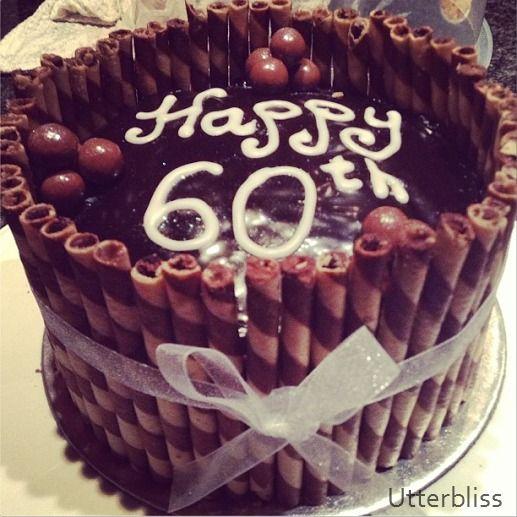 Chocolate wafer 60th birthday cake,