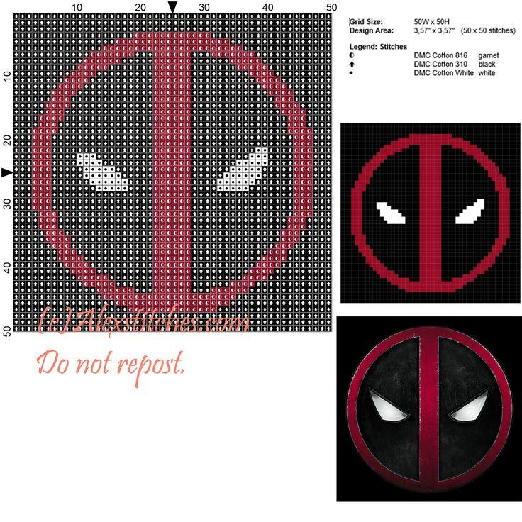 Deadpool symbol free cross stitch pattern 50x50 3 colors