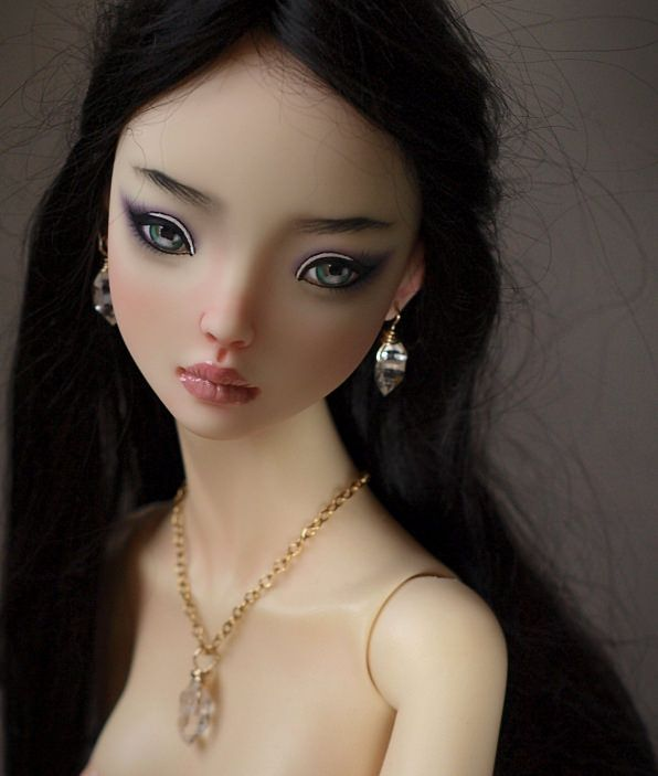 Asian resin Enchanted Doll commissioned faceup. Doll by Marina Bychkova.  Herkimer diamond earrings and necklace by Belle Nolia.