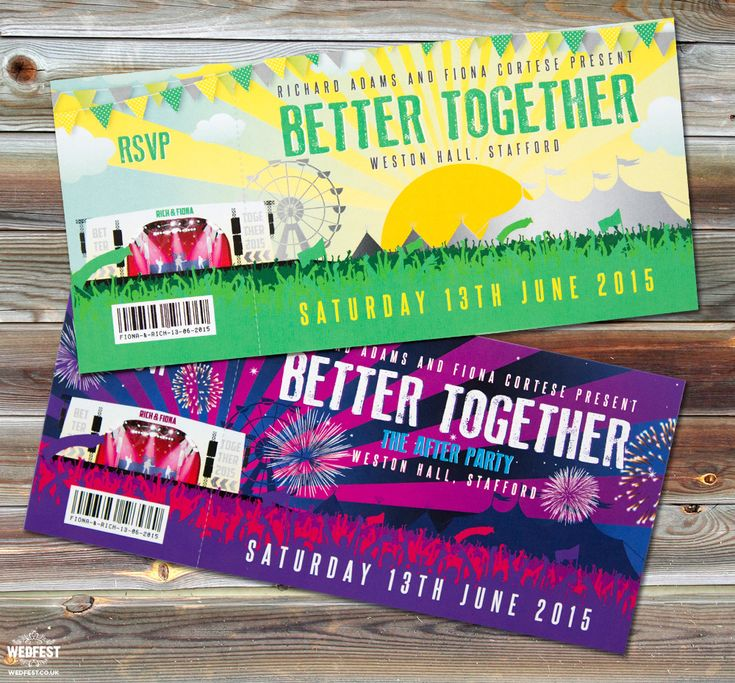 Fiona & Richard's Better Together Festival Wedding Stationery - http://www.wedfest.co/better-together-festival-wedding/