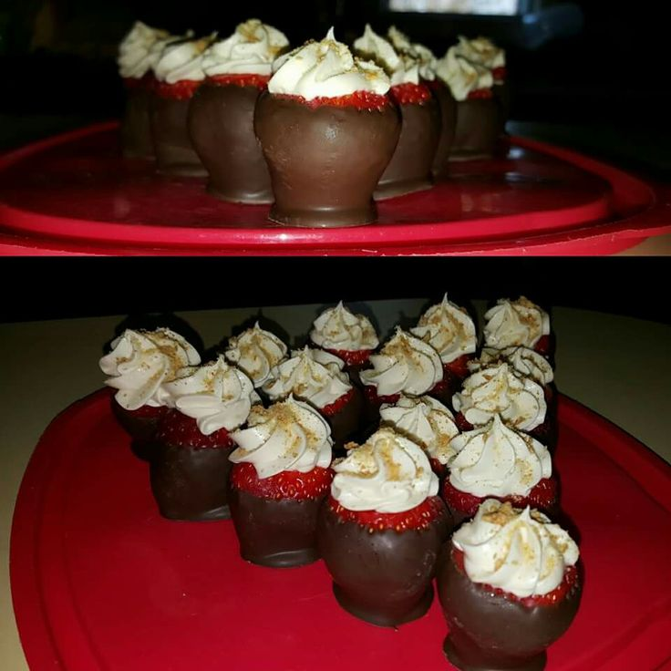 Cheesecake Stuffed Chocolate Covered Strawberry with Graham C4acker Crumbles