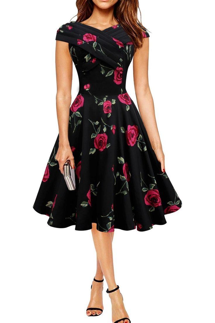 Dreagal Vintage Floral Spring Garden Party Picnic Dress Party Cocktail Dress – FASHION FOR FEMALE
