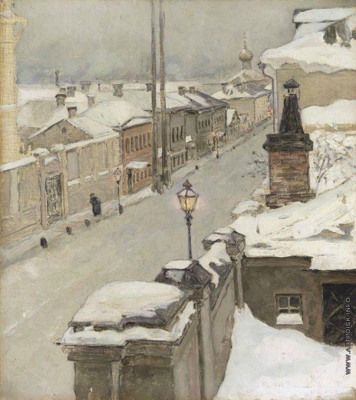 Якунчикова (Вебер) Мария Васильевна [1870—1902] Москва зимой. Вид из окна на улицу Средняя Кисловка. 1889