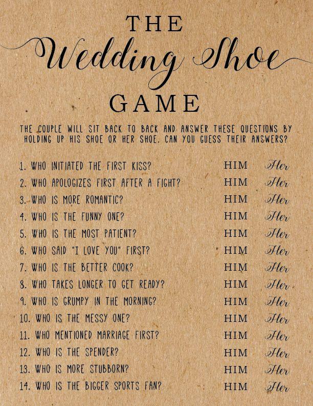 The Wedding Shoe Game . Bridal Shower Games . Wedding