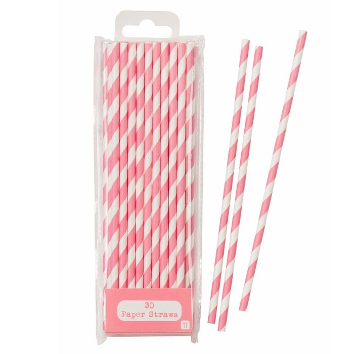 Papieren Rietjes Stripes roze