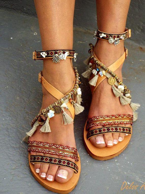 Details about  /Summer Women Ladies Bohemian Style Flat Sandals Contrast Color Beach Sandals