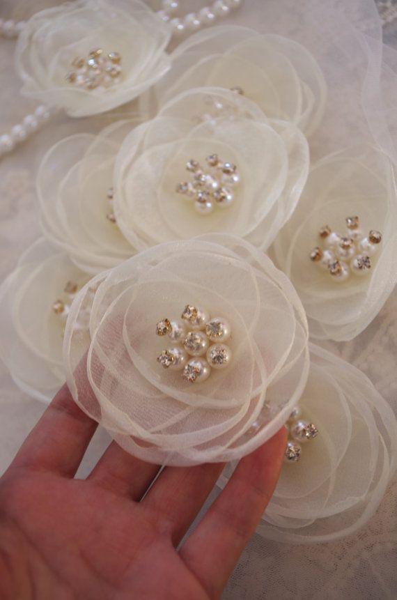 ivoor handgemaakte bloem handgemaakt rozet stoffen parel