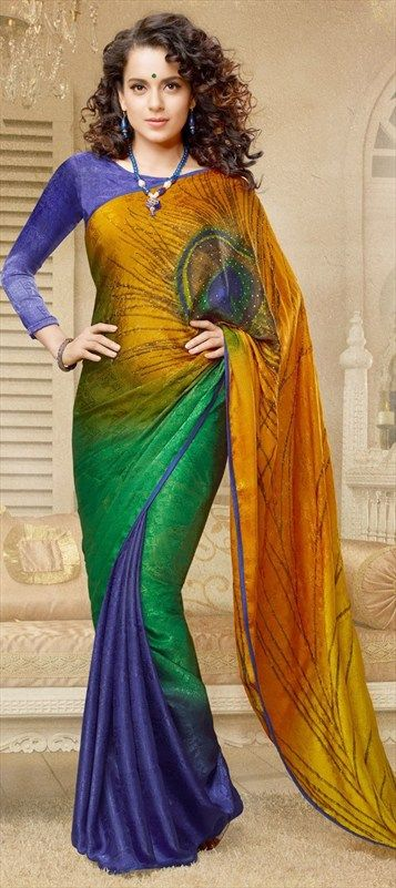 127726, Bollywood sarees, Brasso, Stone, Printed, Multicolor Color Family