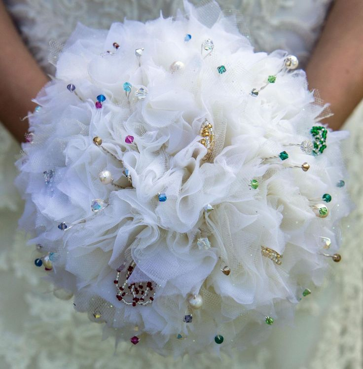 Ivory fabric bouquet with multicoloursed crystals by Ali Rose Bridal  www.ali-rose.co.uk