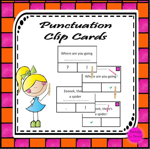 Working on punctuation revision is easy with these clip cards! Students attach pegs to their chosen answer, colour in the corresponding answer on the answer page, flip the card and check if they are...