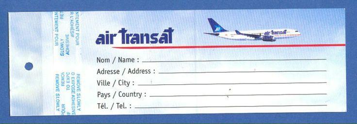 Air Transat Canadian Airlines Baggage Tag