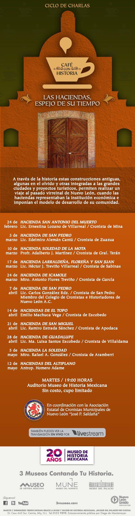 A través de la historia estas construcciones antiguas, algunas en el olvido y otras integradas a las grandes ciudades y proyectos turísticos, permiten realizar un viaje al pasado virreinal de Nuevo León.  24 de Febrero, 03 de Marzo, 10 de Marzo, 17 de Marzo, 24 de Marzo, 07 de Abril, 14 de Abril, 21 de Abril, 28 de Abril, 05 de Mayo y 12 de Mayo.   Estas se darán lugar en el Auditorio Museo de Historia Mexicana los Martes a las 19hrs.