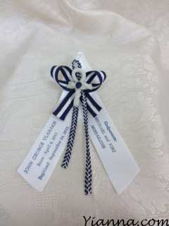 Personalized nautical Martirika with 7/8 personalized ribbon and hand made porcelain cross $2.15 each Add .50 for personalization.