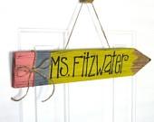 Teacher Name Plate - Teacher Pencil Sign - Customizable Personalized - Classroom Decoration