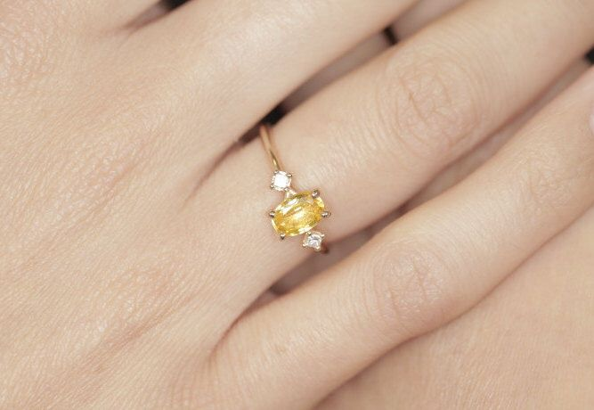 Oval-cut yellow sapphire Engagement Ring Diamond Engagement Ring Oval Engagement Ring vintage Oval Engagement Modern Bride Engagement Ring by MorroJewelry on Etsy https://www.etsy.com/listing/457949478/oval-cut-yellow-sapphire-engagement-ring