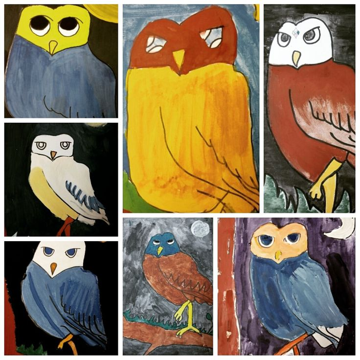 "Here are some of the things we've been busy with this quarter. We'll start with the ""Owl Paintings"" by the grade school ART CLUB members. This one was made by my 3 year old …"