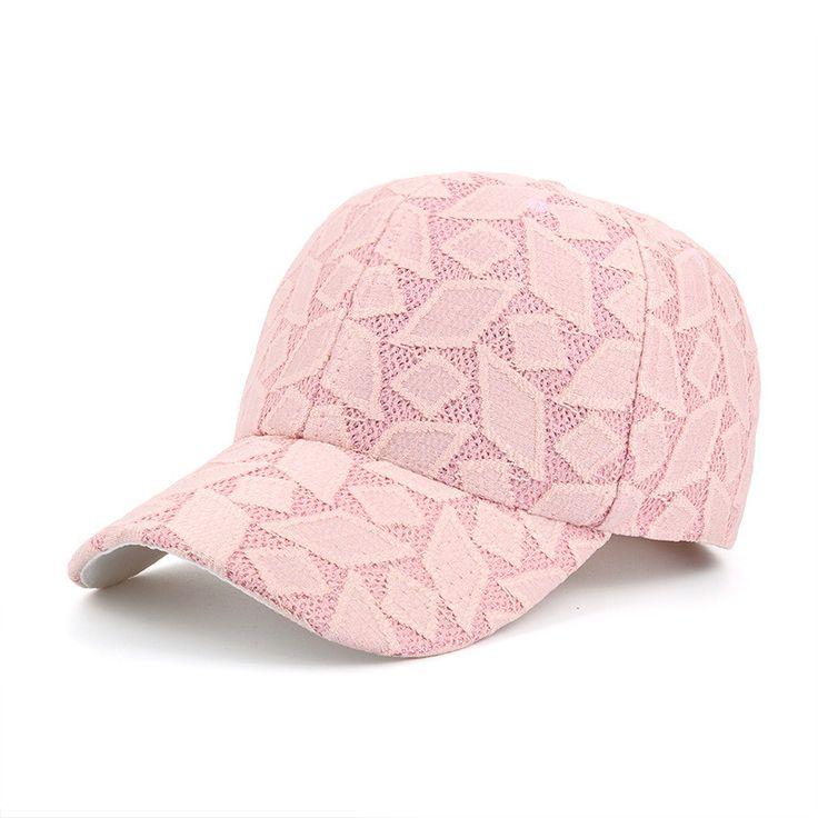 Hot Curved Bill Strapback Vent Baseball Caps Women Breathable Lace Geometric Diamond Pattern Snapback Hats Girls Casual Gorras  #ootd #cool #love #sweet #model #pretty #stylish #style #fashionista #iwant