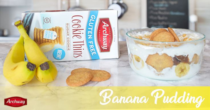 Our fan, Christine, shared this creation with us on Facebook! You'll need: 2/3 C sugar, 1/3 C flour, ½ tsp vanilla extract, 2 tbs butter, 2 bananas, 3 eggs, 2 C milk, Archway® Gluten Free Sugar Cookie Thins. Instructions: Combine sugar, flour, and salt in pan. Add eggs + milk. Stir on low heat. As mixture thickens, remove heat and stir. Add vanilla + butter until smooth. Layer pudding with bananas and cookie thins in a serving dish. Chill for 1 hour. Top with Archway® Gluten-Free Cookie…