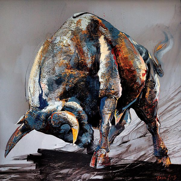 Bull Fight Print by Dragan Petrovic Pavle
