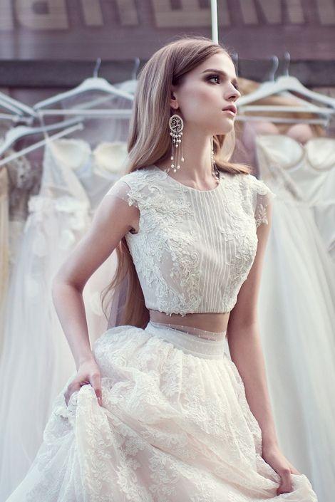 """Оригинальная А-силуэтная свадебная юбка с топом """"Damir""""   Свадебный салон ROMANCE"""