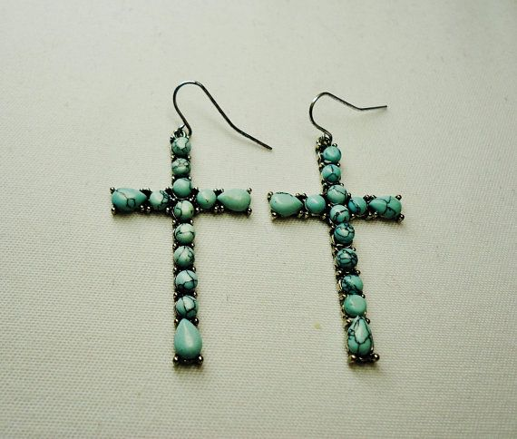 Turquoise earrings for women Blue Turquoise Cross Earrings