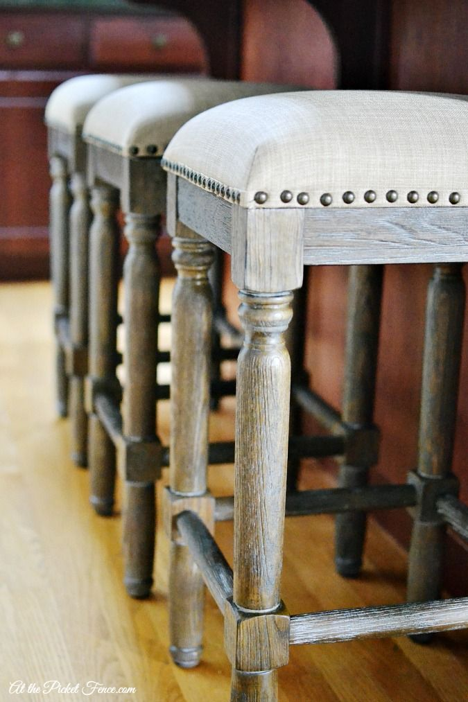 counter height stools with nail head trim atthepicketfence.com
