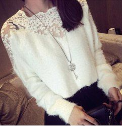 Sweet Style Round Neck Lace Embroidery Spliced Long Sleeve Women's Sweater