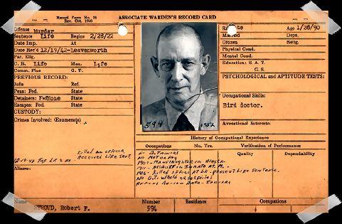 """Robert """"Birdman of Alcatraz"""" Stroud. He inhabited cell 42 in D-Block in solitary confinement for 6 years."""