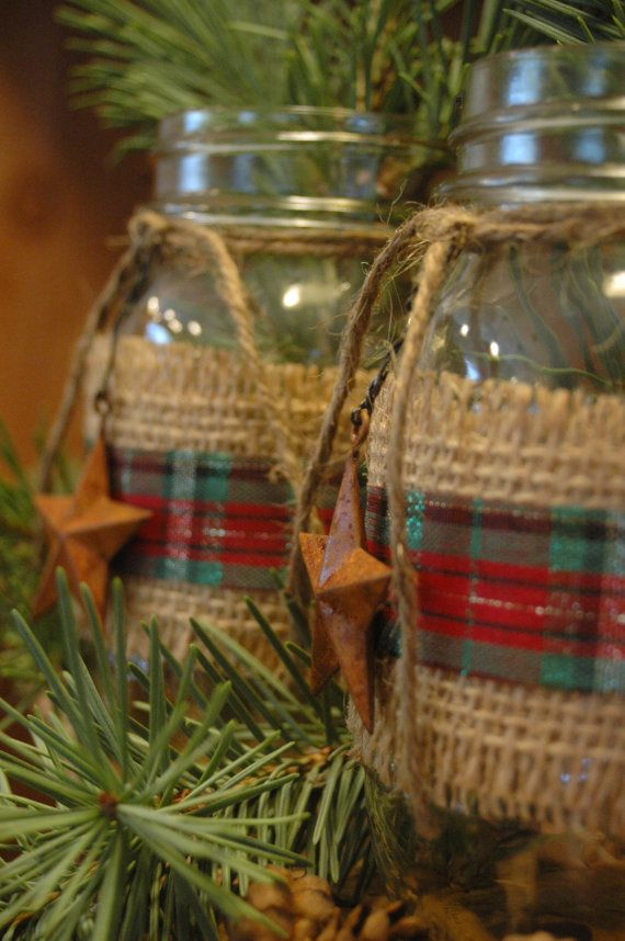 This listing is for a set of 2 decorated mason jars.    Mason jars are decorated with burlap, gorgeous plaid ribbon and rusty barn stars.