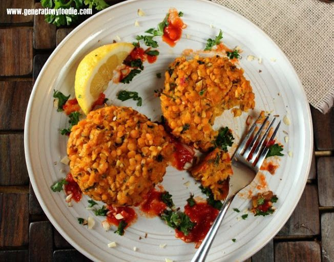 Red Lentil Cakes with Harissa - 280 calories