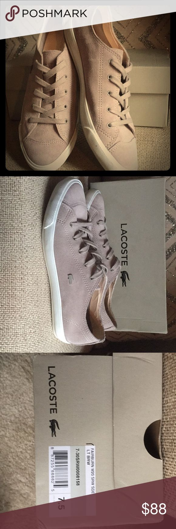 Lacoste sneakers 7.5 Fairburn W20 Lt Brown Suede (more of a Taupe color)  Lightly used! (Worn only once) Lacoste Shoes Sneakers