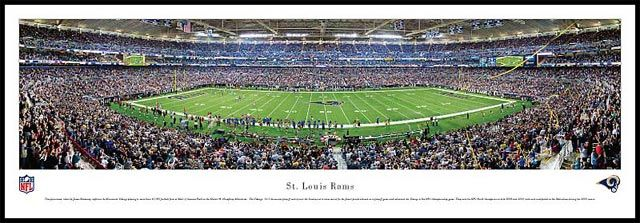 St. Louis Rams Wood Mounted Panoramic Poster Print - Edward Jones Dome