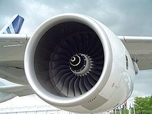 A Rolls-Royce Trent 900 engine on the wing of an Airbus A380