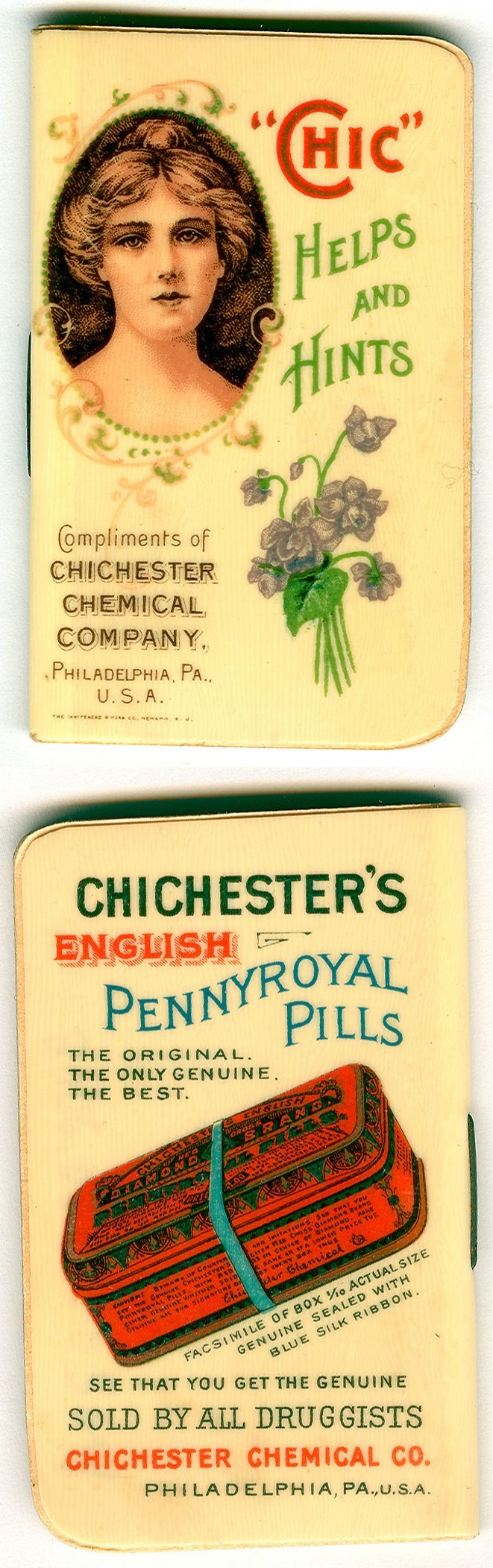A promotional booklet with a celluloid cover, this advertisement for Chichester products contained calendars from 1904-1907 and featured a woman and a box of pennyroyal pills. Marketed as a way to start delayed menstruation, the herb pennyroyal was a known folk medicine used as an abortifacient.