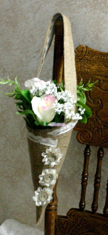 Burlap cone flower holders houseware flower by Bannerbanquet... Etsy