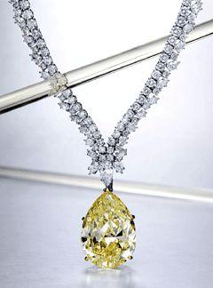 A fancy intense yellow, VS1 diamond pendant necklace of 42.13 carats by Harry Winston