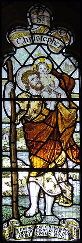 St Christopher stained glass window..... 'circle'- Halo...... weight of the world.