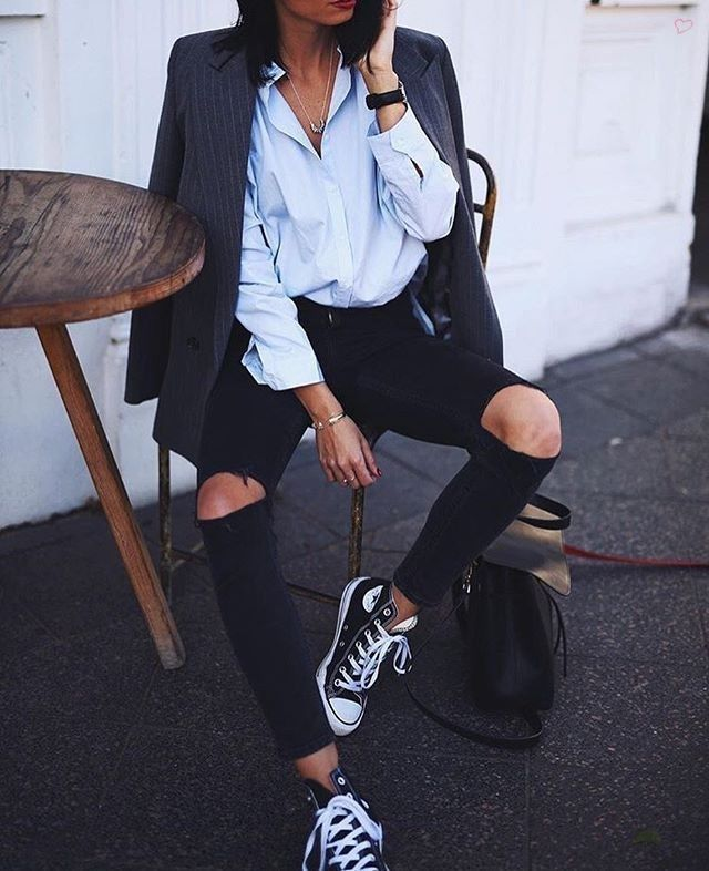 black denim with black hi top Converse All Stars // Sneakers Style Ideas... - Street Style