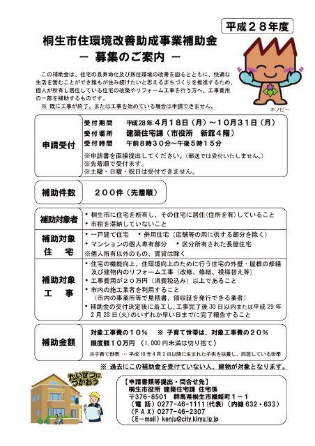 宮島工務店のスタッフブログ: 桐生市の補助金