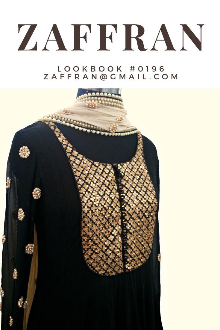 #Black pearl & sequin #gold embroidered #anarkali by #ZaffranLabel
