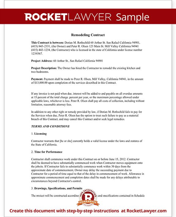 Home Remodeling Contract Form with Sample House Remodel - guidelines freelance contract writing